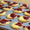 Cranberry yogurt custard tartlets fresh out of the oven