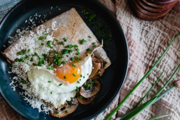 Savoury buckwheat crepes with creamy mushrooms and a fried egg