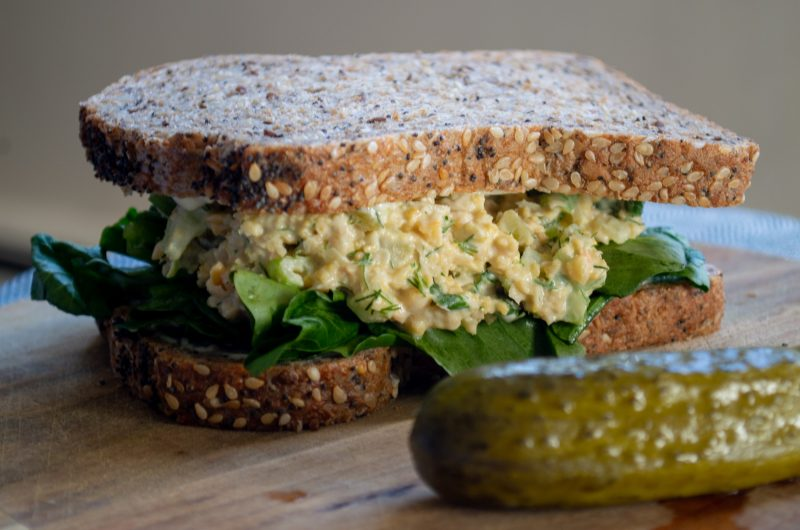 Smashed Chickpea Sandwich with Watercress