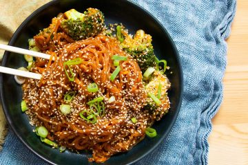 Spicy Creamy Gochujang Noodles With Broccoli And Sesame Seeds