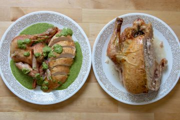 spinach walnut pesto on roast chicken