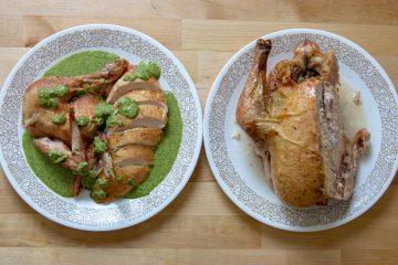 spinach walnut pesto on roast chicken