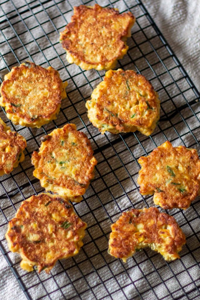 corn-fritters-cooling-on-rack