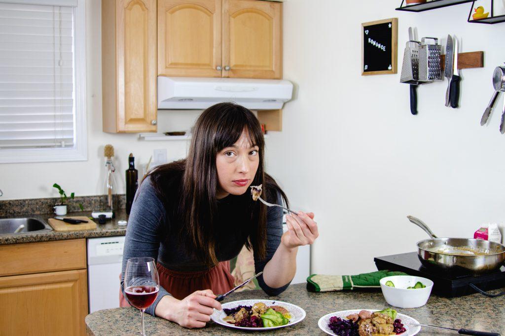 Paula Hingley, YouTube cooking show host, enjoying some swedish meatballs