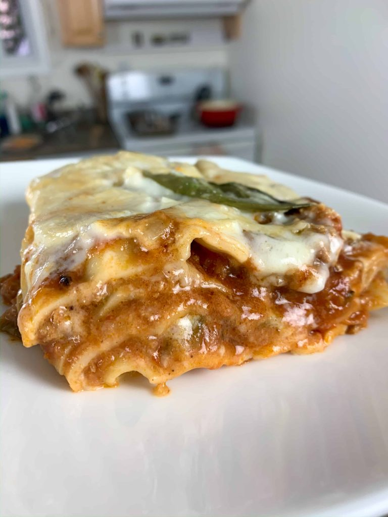 a piece of turkey lasagna